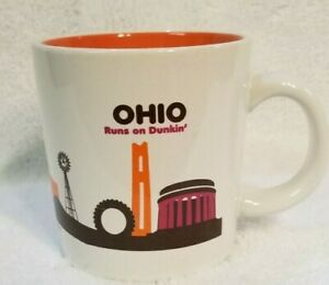 Dunkin Donuts DD 2012 Landmarks Ohio Runs On Dunkin Coffee Mug Orange Inside