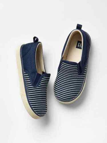 Toddler Boy Size US 9 Navy Blue White Striped Slip-On Sneakers Shoes GAP Baby