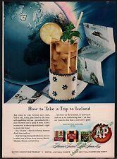 1946 A&P Super Market Food Stores Iced Tea AD Kitchen Decor Vintage Food
