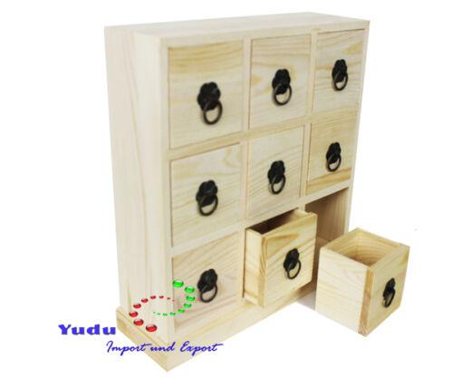 Holzkasten Aufbewahrungsbox Sammelkasten mit 9 Schubladen