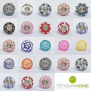 Floral Flower Ceramic Door Knobs Handles Furniture Drawer Pulls