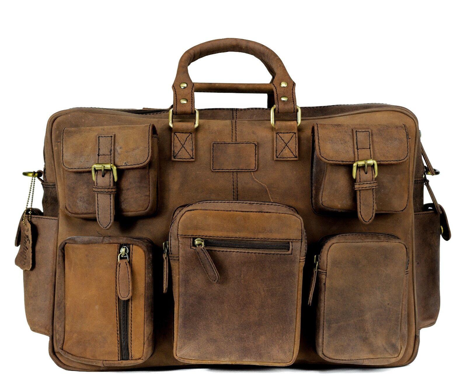 e4494d275876 Details about New Leather Duffel Bag Travel Bag Men's Weekender Overnight  Bag Multi Pocket Bag
