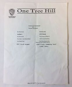 ONE TREE HILL set used TECH SCOUT ITINERARY Season 3 Episode 2