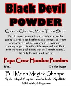 Details about Black Devil Powder Voodoo Hoodoo Ritual Curse Dust Punish  Cheaters Corked Bottle