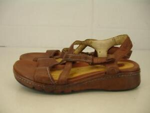 Details about Womens 7.5 M Clarks Unstructured Un.Shade Brown Leather Sandals Slingback Wedge
