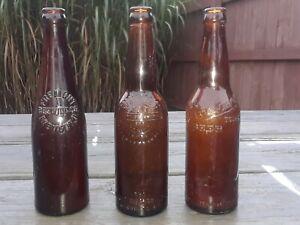 Lot Of 3 Vintage/Antique RARE Ohio Brewery Beer Bottles HUEBNER, WAGNER, &...