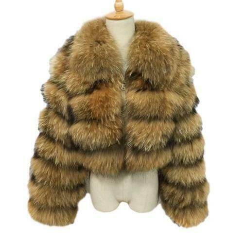 Womens High Quality Faux Fur Cropped Jacket Warm Lapel Zipper Fluffy Tops Coat L