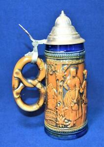 Vintage Original GERZIT W Germany Blue Brown Pretzel Handle Lidded Beer Stein