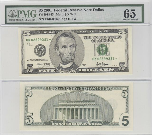 2001 $5 Dallas District Star Federal Reserve Note FR 1988-K* PMG 65