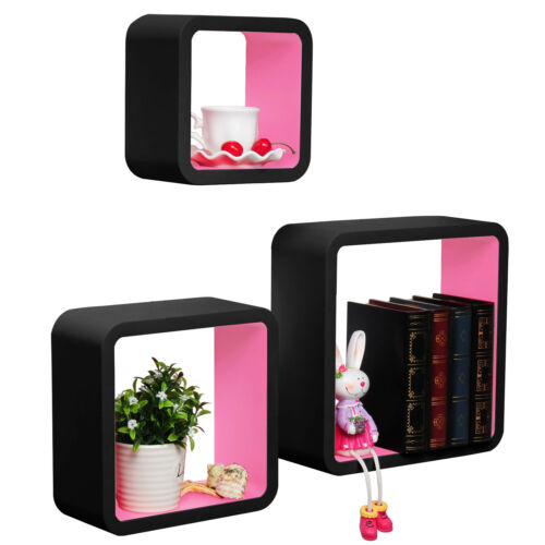 Wandregal 3er Set Bücheregal Hängeregal CD Cube Regal MDF Holz Rosa RG9269rs