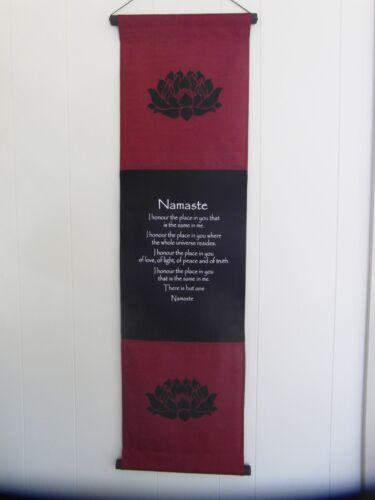 Large inspirational balinese affirmation wall hanging banner Namaste Burgundy