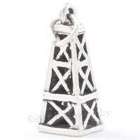 3d Oil Derrick Rig Bracelet Charm Solid 925 Sterling Silver Pendant Texas Travel