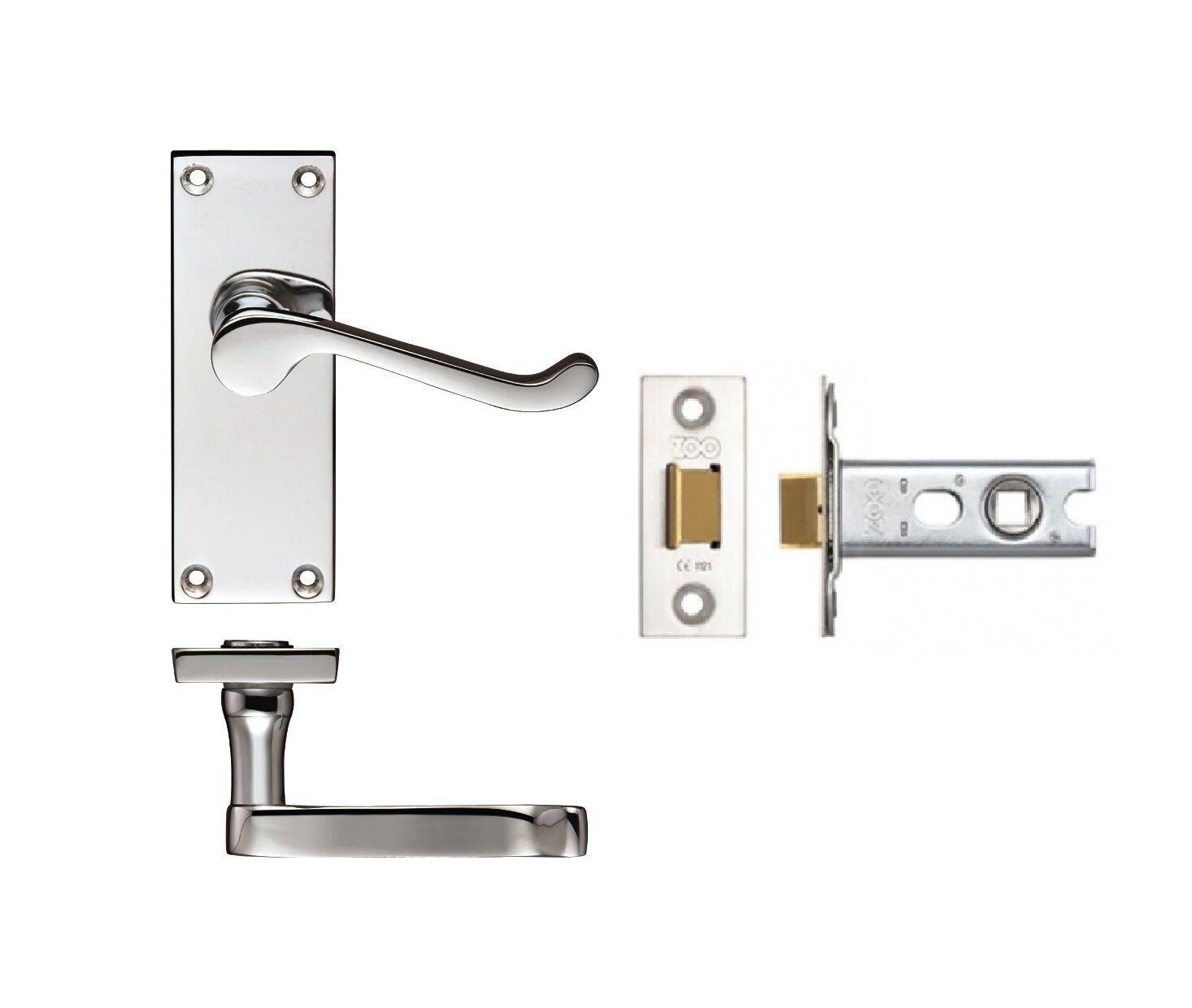7 x Victorian Scroll Polished Chrome Door Handle Latch Set