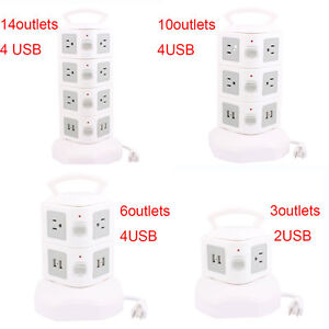 Vertical-Tower-Power-Socket-Strip-USB-Smart-Charger-Multi-outlet-Gray-White-New