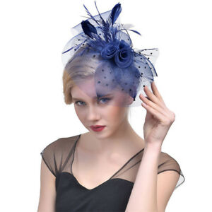 Image is loading Women-Feather-Headwear-Fascinator-Hair-Clip-Party-Wedding- dfe73a449e1
