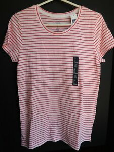 NWT-GAP-Women-039-s-Favorite-Crew-Neck-T-Shirt-Pink-Striped-XS-Free-Shipping-New