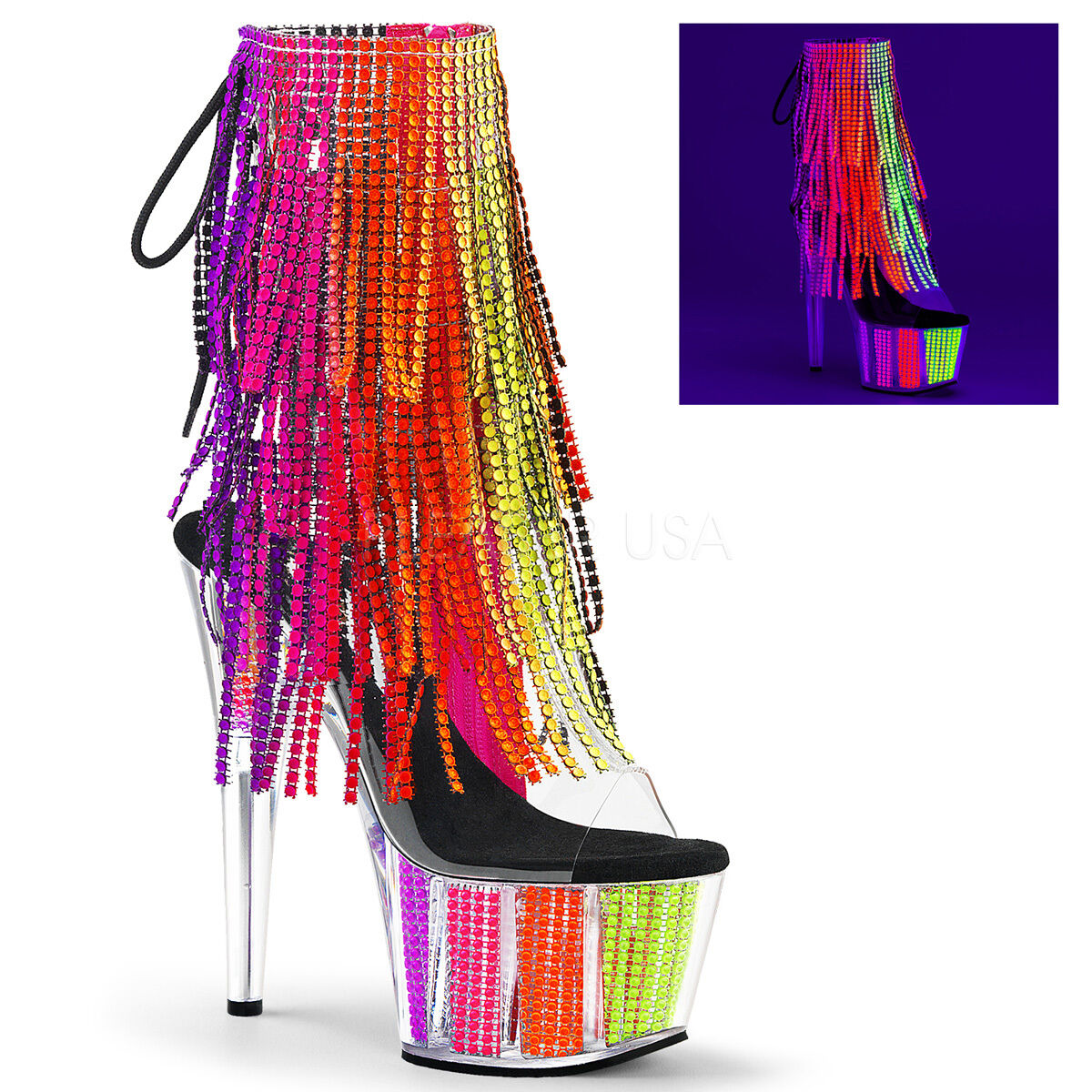 Pleaser ADORE-1017SRS Ankle/Mid-Calf Platform Ankle/Mid-Calf ADORE-1017SRS Stiefel Simulated Rhinestone 454f4d