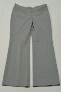 Express 4 Short Gray Pinstripe Editor Wide Waistband Flare Stretch Dress Pants