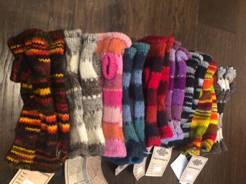 HAND-KNITTED Woollen Gloves Fleece Lined Mitten Wrist Warmer Ski Wool Glove HL
