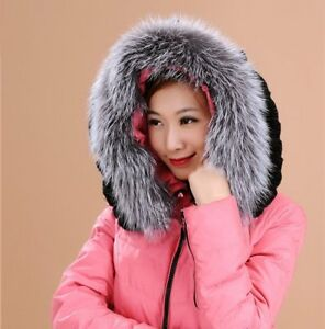 Silver-Fox-Fur-Down-Jacket-Hood-Trimming-Scarf-Natural-Silver-70-15cm-Collar