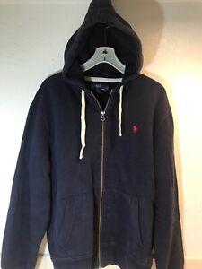 Polo-Ralph-Lauren-Full-Zip-Hoodie-Men-039-s-Large-Navy-Blue-Pockets-Sweatshirt-Coat