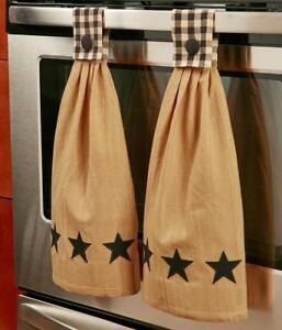 Image Is Loading Set Of 2 Hanging Kitchen Hand Towels Button