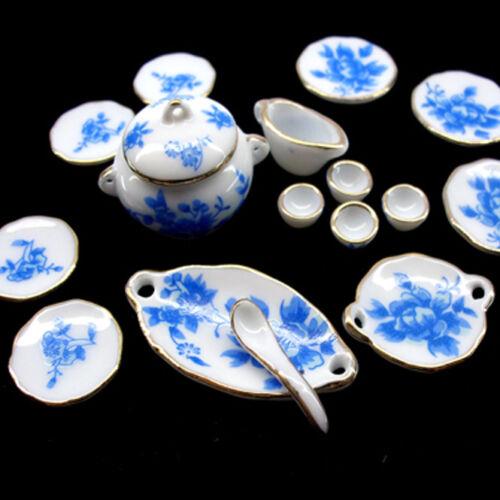 Dollhouse Tableware Miniature Ceramic Pots Porcelain Plates Kitchen Accessories