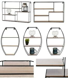 Retro-Wall-Shelves-Storage-Unit-Wood-Industrial-Style-Metal-Wire-Rack-Display