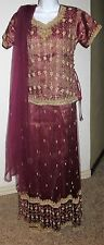 Ladie's bridal rust golden lehnga sharara choli with crystal & bead work size Sm