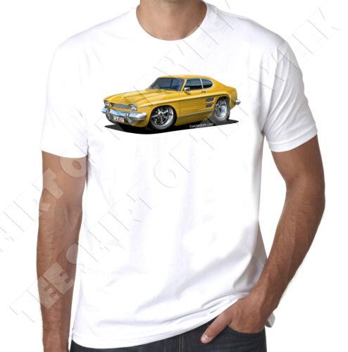 Wickedartz voiture Dessin Animé Jaune MK2 Ford Capri 100/% coton t-shirt blanc