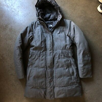 9ff22897e Womens The North Face TNF Gray Hyvent Goose Down Hooded Puffer Parka Jacket  Sz S | eBay
