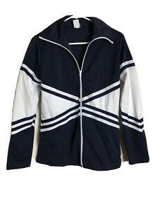 Chasse-Cheer-Jacket-Adult-Med-Blue-White-Full-Zip-Track-Vintage-Costume-Cosplay