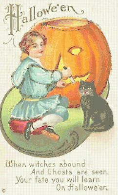 Vintage Halloween Black Cat Pin-Up Kitsch Counted Cross-Stitch Pattern Chart