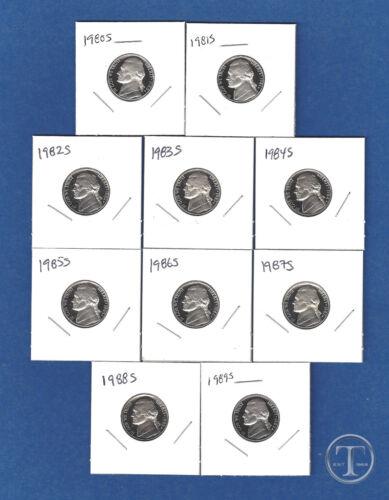 Set of Ten 1980 S through 1989 S Proof Jefferson Nickels