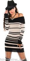 Vêtements Femme / Fille Robe Pull Rayé / Fashion / Taille Unique : 34 36 38 Noir