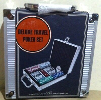 CARDINAL DELUXE POKER SET,WITH PADDED ALUMINUM CARRY CASE,CHIPS,CARDS,BUTTON,NEW