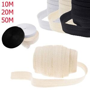 1 MTR TOP QUALITY 20MM POLYESTER HERRINGBONE APRON TAPE BLACK OR WHITE-ART A20