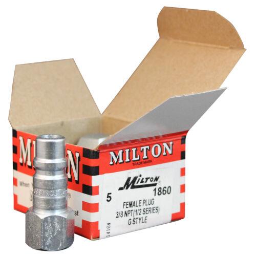 "Fast Free S/&H Milton 1860 3//8/"" FNPT /""G/"" Style HI-FLOW Plug 1 // 5"