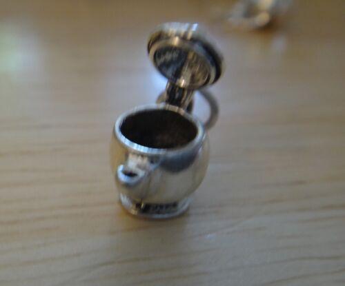 Sterling Silver 3D 15x10x8mm Petit Mobile thé café Théière charme!