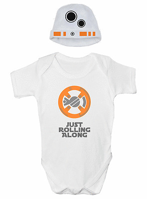 BB8 Droid Funny Baby Grow Vest, Sleepsuit, with Hat Baby Clothing FREE P&P