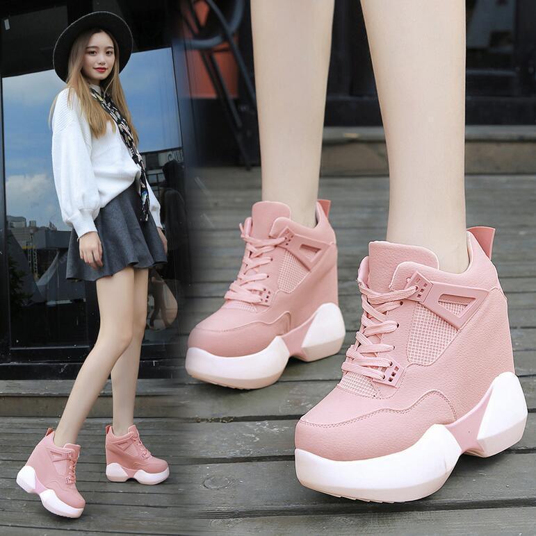 Vogue Womens High Top Sport Causal Creepers shoes Girls Sweet Hidden Heels Sbox1