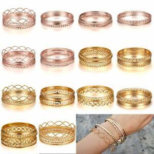New-Fashion-Women-4-6Pcs-Gold-Rose-Gold-Cuff-Bracelets-Set-Charm-Bangle-Jewelry