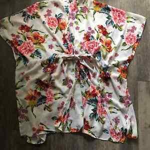 Umgee-White-Floral-Kimono-Cinched-Waist-Womens-Medium