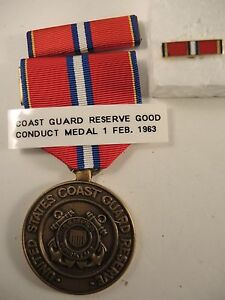 Details about Coast Guard reserve good conduct medal, ribbon bar, lapel pin  not named