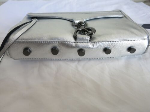 Rebecca Minkoff MAC CLUTCH Silver Gunmetal FULL SIZE Purse Handbag Crossbody NEW