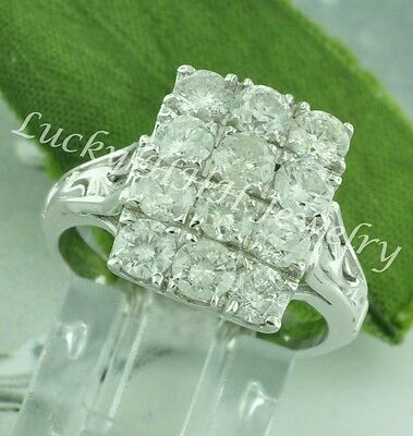 Antique Style 2.00 ct 14k Solid White Gold ladies Natural Diamond Ring made USA