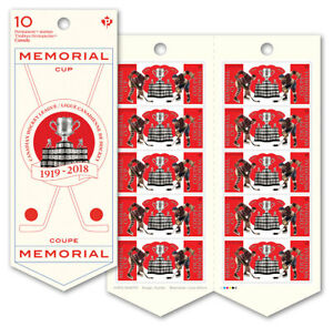 CANADA-2018-100TH-PRSENTATION-OF-THE-MEMORIAL-CUP-COMPLETE-BOOKLET-OF-10-MNH