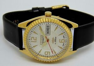MEN-S-CITIZEN-AUTOMATIC-GOLD-PLATED-DAY-DATE-WHITE-DIAL-WRIST-WATCH
