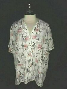 ALFRED-DUNNER-Plus-Size-20W-Blouse-Shirt-Top-Gray-Pink-White-Floral-Short-Sleeve