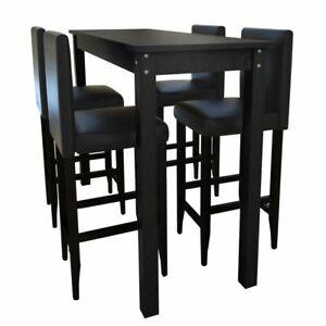 Detalles de vidaXL Mesa de Bar y 4 Sillas Altas Madera Negro Set Taburete  Cocina Desayuno
